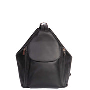 Womens Genuine Black Leather Backpack Walking Bag A57 Front