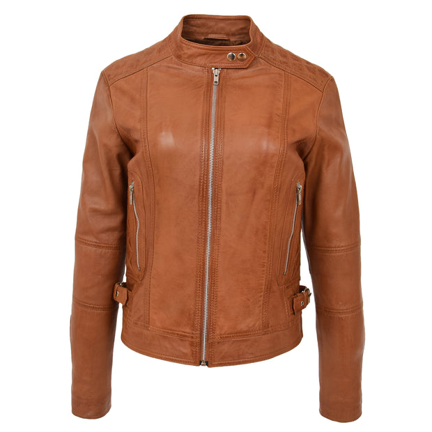 Womens Soft Tan Leather Biker Jacket Designer Stylish Fitted Quilted Celeste Front