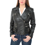 Womens Fitted Trendy Biker Leather Jacket Beyonce Black front