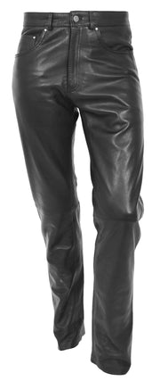 Mens Genuine Soft Black Leather Trouser Ajax