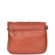 Womens Soft BROWN Leather Multi Zip Pockets Shoulder Bag A95 Back