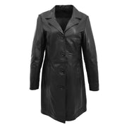 Ladies 3/4 Long Classic Fitted Soft Leather Knee Length Coat Laura Black