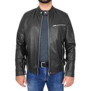 Mens Fitted Black Leather Biker Jacket Zip Fasten Brock Open 2