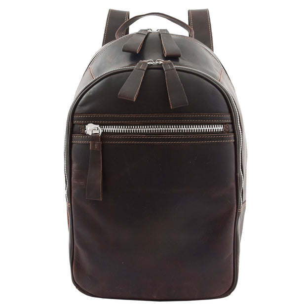 High Quality Genuine Brown Leather Backpack Large Size Work Casual Travel Bag Trek Front