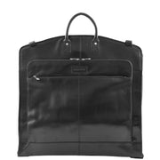 Exclusive Leather Slimline Travel Garment Bag Suit Carrier Dress Cover Remy Black Front 1