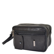Gents Real Leather Wrist Bag Clutch Travel Black Bag Mason