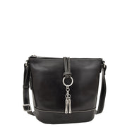 Womens Real Black Leather Sling Bag Crossbody Handbag Edith Front