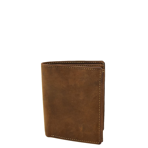 Mens Distressed Leather Wallet Coins Credit Cards Note Case A108 Tan Front