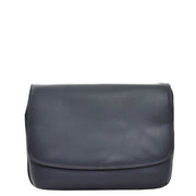 Ladies NAVY Leather Shoulder Bag Flap Over Handbag A190 Front