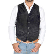 Mens Real Suede Leather Waistcoat Classic Vest Gilet Cole Black