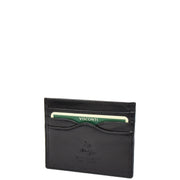 Real Leather Compact Card Wallet Small Slim Oysters Card Holder AVT1 Black