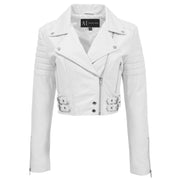 Womens Fitted Cropped Bustier Style Leather Jacket Amanda White