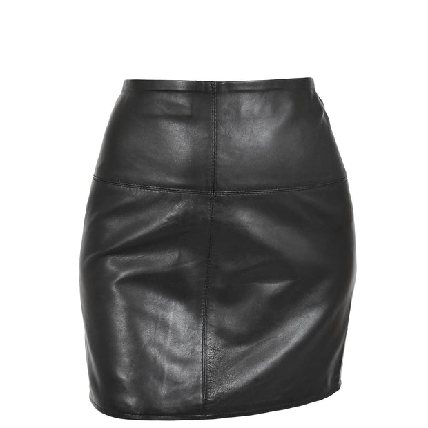 Womens Leather Mini Skirt Ivy Black main