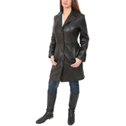 Womens 3/4 Button Fasten Leather Coat Cynthia Black full view