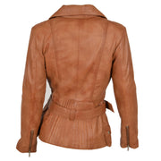 Womens Biker Leather Jacket Slim Fit Cut Hip Length Coat Coco Tan Back