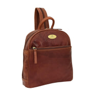 Womens Backpack Cognac LEATHER Rucksack Organiser Bag Harper Front Angle