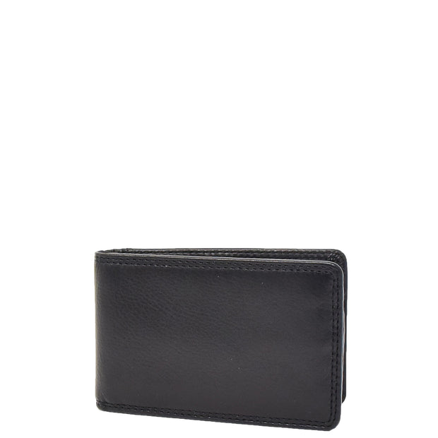 Real Leather Credit Card Holder Oyster Bus Pass ID Bifold Slim Wallet AV5 Black