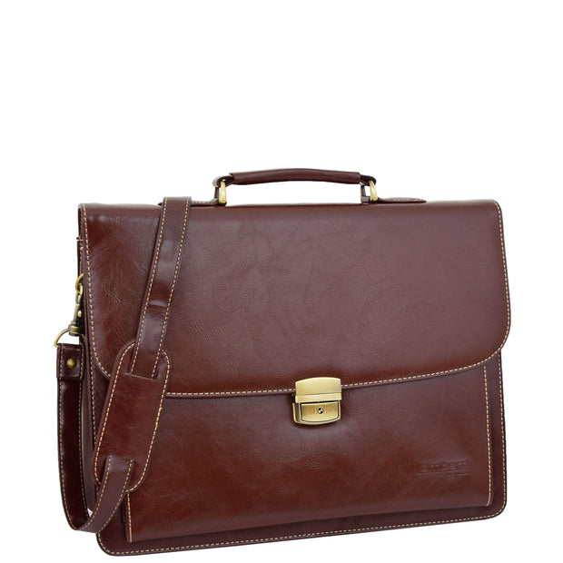 Mens pu Leather Briefcase Brown Laptop Bag A4 Office Business Satchel Andy Front 2