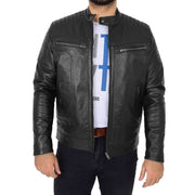 Trendy Genuine Soft Leather Biker Zipper Jacket For Men Rider Black Front 3