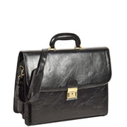 Mens Leather Look Briefcase Office Business Executive Bag A5071 Black
