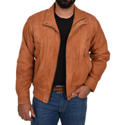 Mens Classic Bomber Nubuck Leather Jacket Alan Tan main view