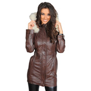 Womens Duffle Leather Coat Detachable Hood 3/4 Long Parka Jacket Mila Brown Front 1