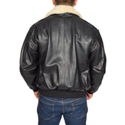 Mens Pilot Bomber Leather Jacket Spitfire Black back view