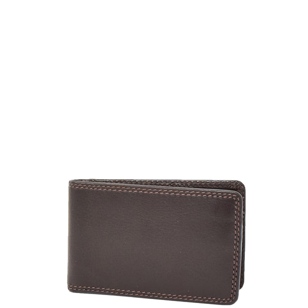Real Leather Credit Card Holder Oyster Bus Pass ID Bifold Slim Wallet AV5 Brown