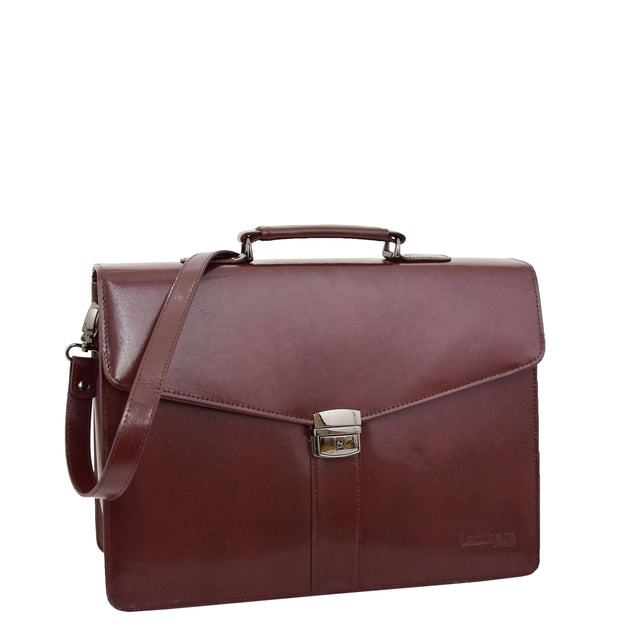 Brown Leather Briefcase For Mens Laptop Business Organiser Shoulder Bag Alvin Front 1