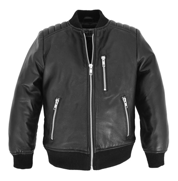 Boys Black Real Leather Bomber Jacket Kids Childrens Varsity Style 2-12 Years
