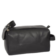 Genuine Soft Leather BLACK Travel Wash Bag A179