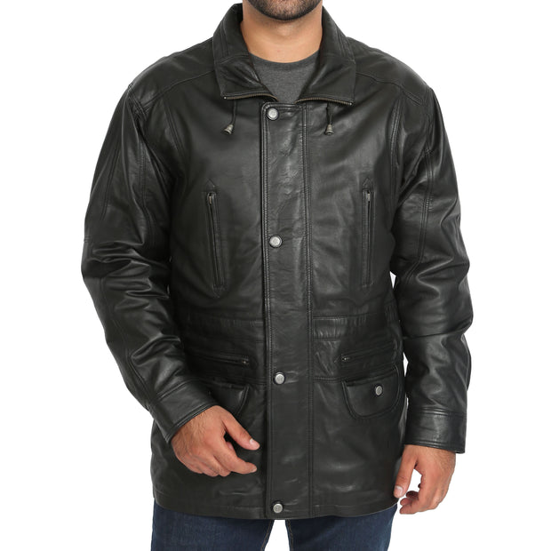 Gents Classic Soft Leather Parka Car Coat Steve Black main view