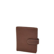 Mens Snap Closure Purse Real Leather Wallet AL31 Brown
