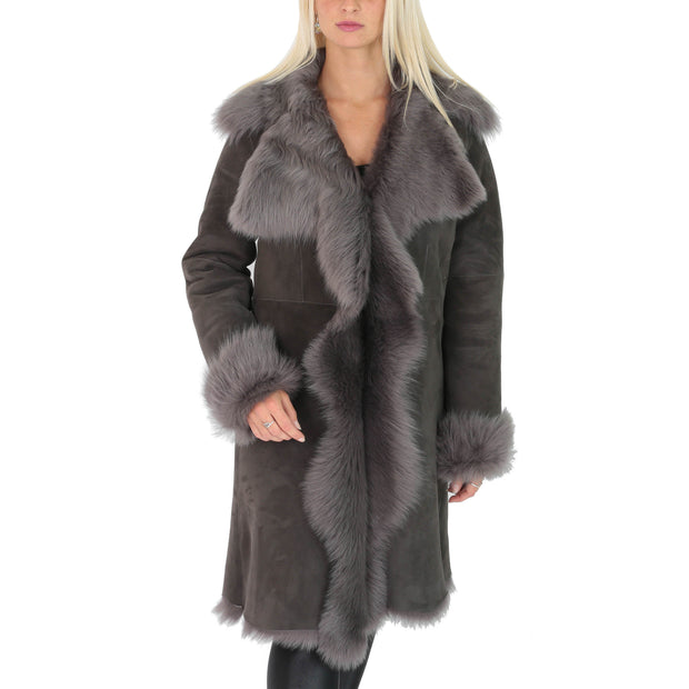 Womens Luxurious Toscana Long Coat Real Sheepskin Pamela Grey main