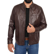 Mens Genuine Leather Jacket Regular Fit Coat Amos Brown Open 1