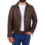 Mens Real Leather Biker Jacket Vintage Copper Rust Rub Off Slim Fit Style Max Open 1
