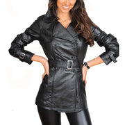 Womens Soft Leather Trench Coat Olivia Black button fasten