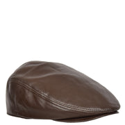 Genuine Brown Leather Flat Cap English Granddad Baker-boy Hat Arthur