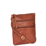 Womens Cross-Body Real Leather Shoulder Travel Bag A606 Brown