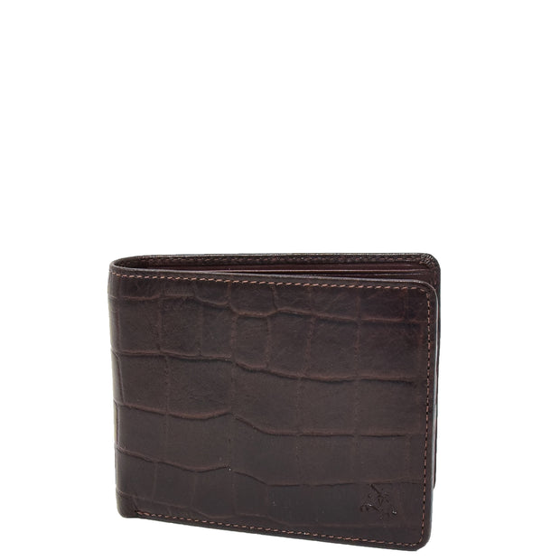 Mens Brown Real Leather Croc Print RFID Wallet AV92 Front