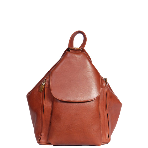 Womens Genuine Brown Leather Backpack Walking Bag A57 Front