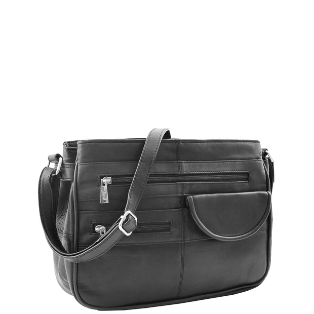 Ladies Soft Leather Crossbody Multi Zip Pockets Bag Dolores Black