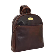 Womens Backpack Brown LEATHER Rucksack Organiser Bag Harper Front Angle