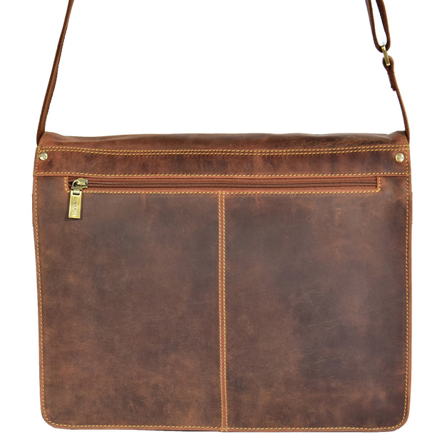Mens Messenger TAN Vintage Leather Laptop Office Bag A48 Back