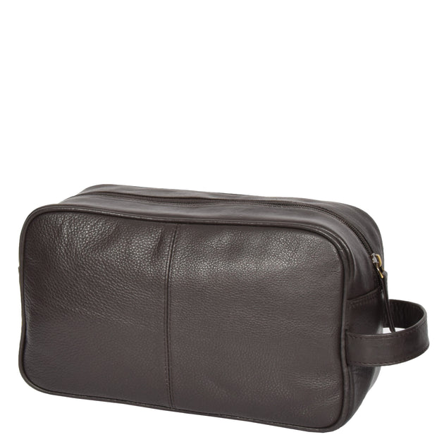 Wash Leather Bag Travel Toiletry Shaving Kit Wrist Bag A98 Brown