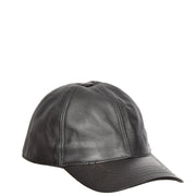 Genuine Leather Baseball Cap Sports Casual Viper Black