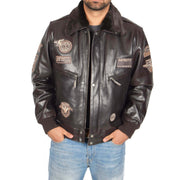 Mens Pilot Leather Jacket Air Force Badges Bomber Coat Luca Brown