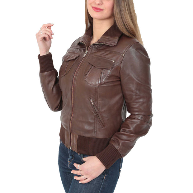 Womens Slim Fit Bomber Leather Jacket Cameron Brown Front 2