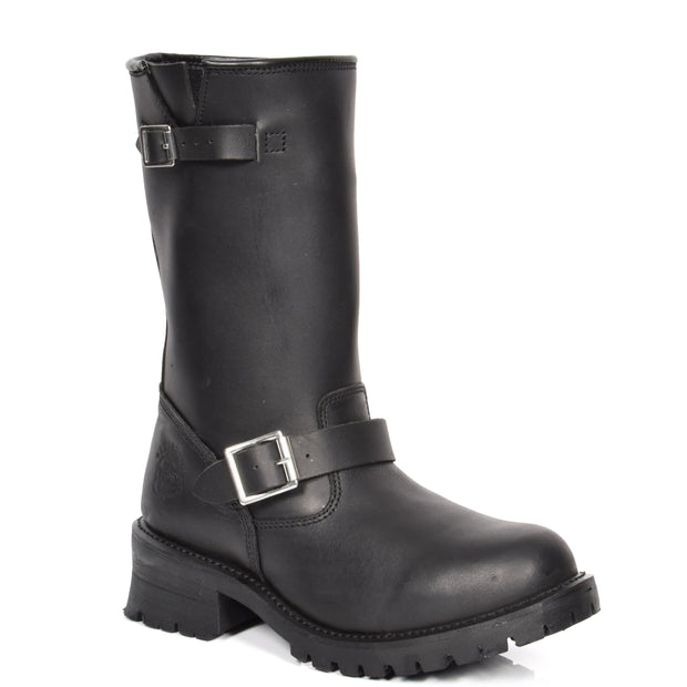 Real Leather Round Toe Buckle Design Biker Boots ATB45H Black