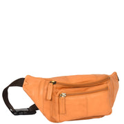 Real Leather Bum Bag Money Mobile Belt Waist Pack Travel Pouch A072 Sand Front